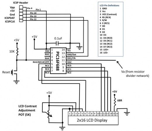 PIC-based Digital Voltmeter (DVM) schematic