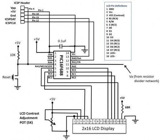 PIC-based Digital Voltmeter (DVM) schematic