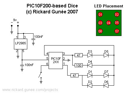 PIC10F200 based dice schematic
