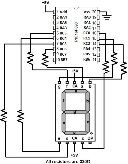 PIC16F690 Microcontroller Circuit- How to Drive an LED Display schematic