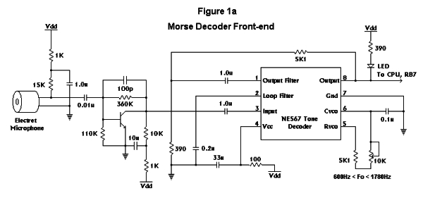 PIC16F84 Based Morse Code Reader Schematic
