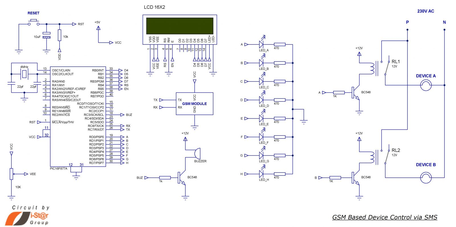 SMS Based Device Control using GSM Modem schematic