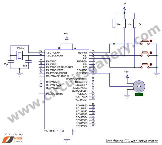 Servo Motor Control using Microcontroller PIC16F877A schematic