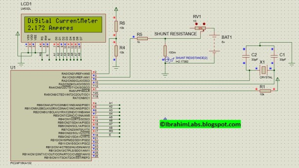 Simple Digital Current Meter (DCM) using PIC microcontroller (Schematic + code + Proteus simulation) schematic