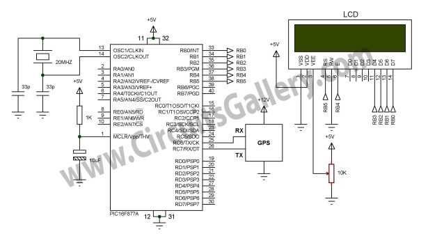 Simple Digital GPS Speedometer Using PIC16F877A with LCD Display schematic