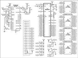 Using the MAX6955 LED Display Driver with a PIC Microcontroller to Scroll Messages schematic
