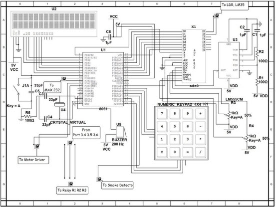 home security system with gsm using  microcontroller, schematic