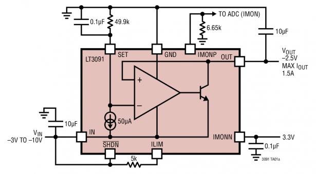 LT3091 - –36V, 1.5A Negative Linear Regulator with Programmable Current Limit