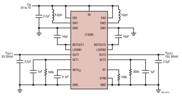 LT3095 - Dual-Channel Low Noise Bias Generators