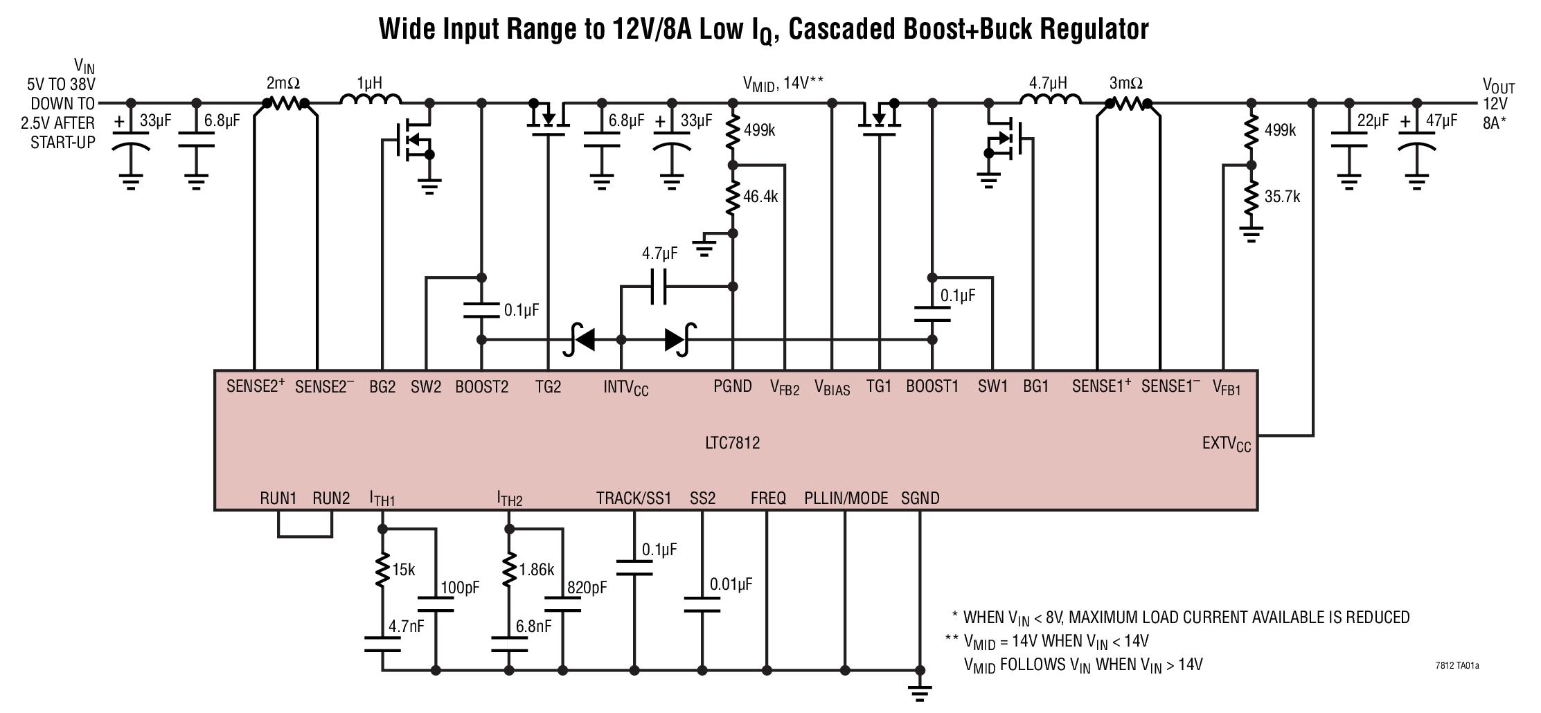 LTC7812 - Low IQ,38V Synchronous BoostBuck Controller