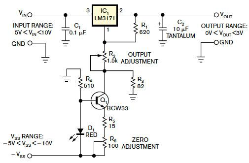 Use an LM317 as 0 to 3V adjustable regulator