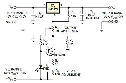 Use an LM317 as 0 to 3V adjustable regulator