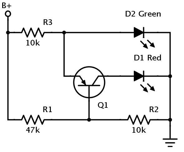 Voltage indicator transitions between colours
