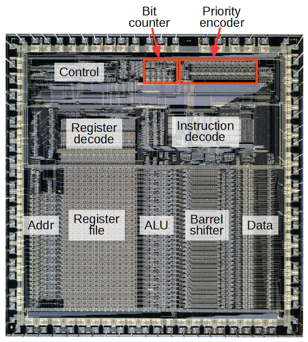 Counting bits in hardware reverse engineering the silicon in the ARM1 processor
