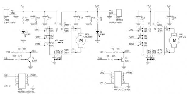 Dual DC Motor driver using two L293D
