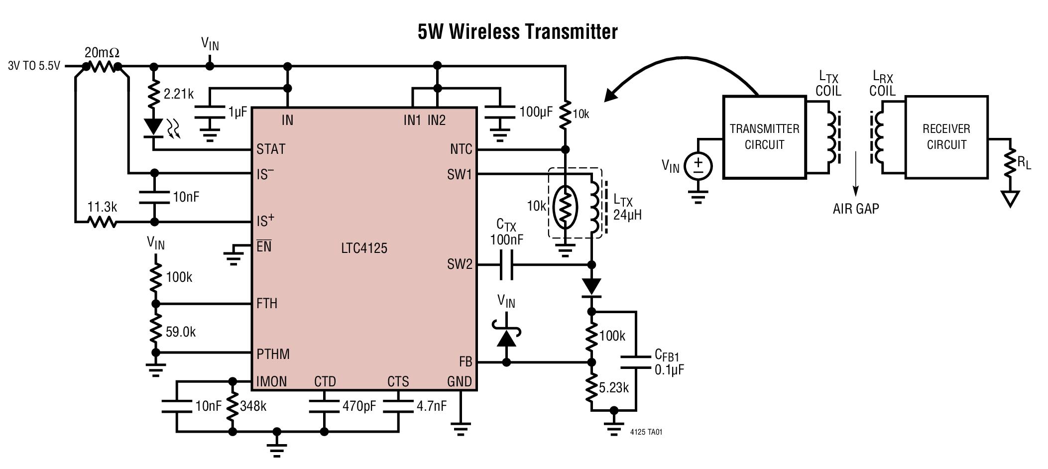 LTC4125 - 5W AutoResonant Wireless Power Transmitter