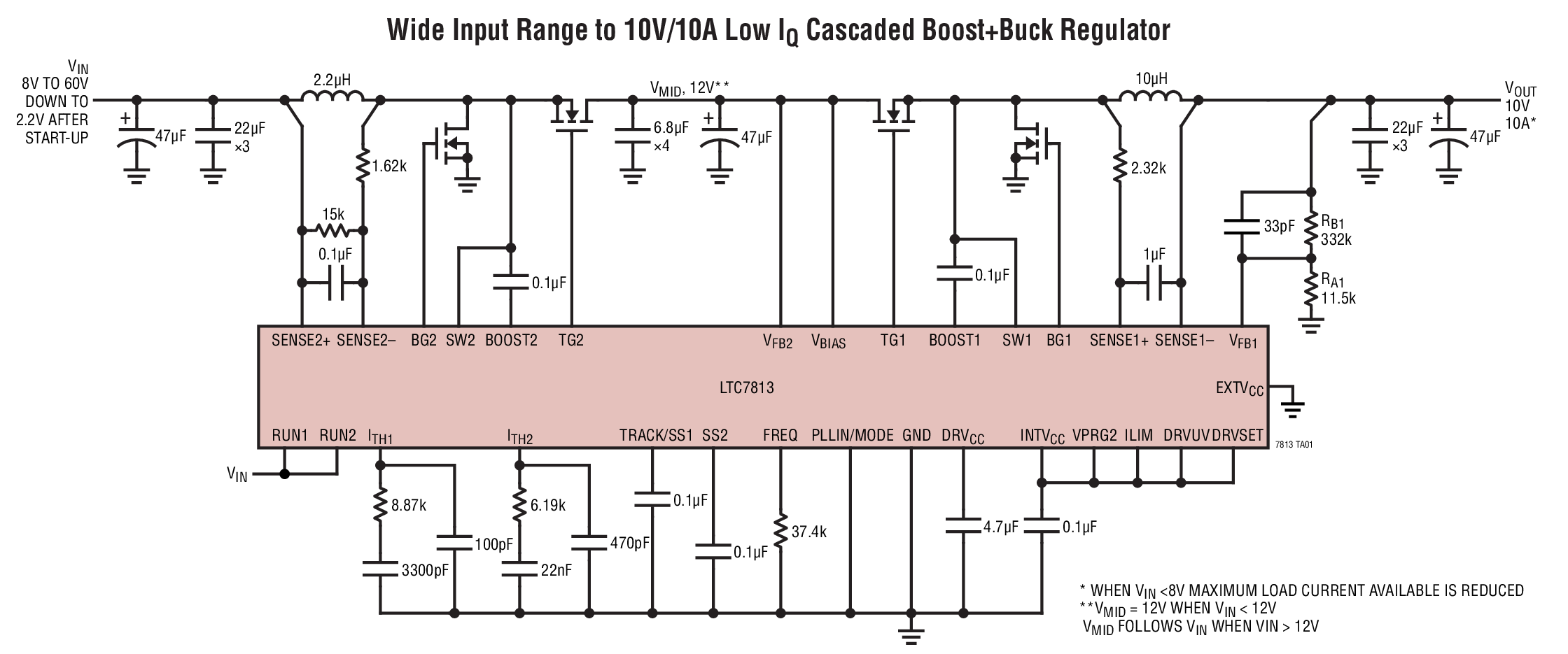 LTC7813 - Low IQ, 60V Synchronous Boost+Buck Controller