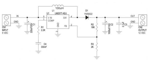 5V to 12V Step Up DC-DC Converter