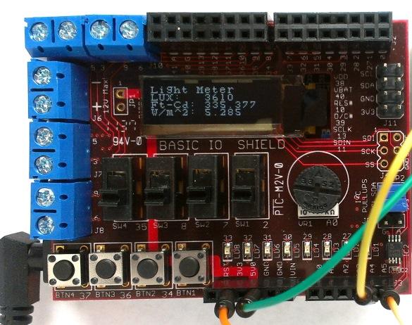 Digital light meter using chipKIT Uno32
