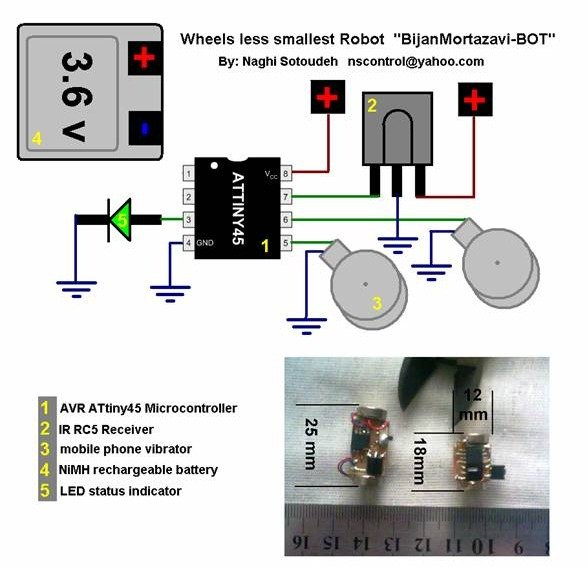 Infrared Remote Controlled (RC) Steerable Vibrobot Created by Naghi Sotoudeh SCHEMATIC