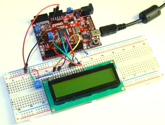 LCD circuit setup on breadboard