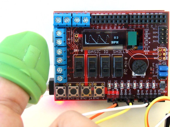 Pulse rate meter using chipKIT Uno32 and Easy Pulse