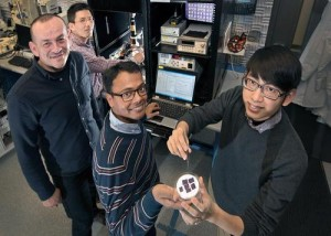 """Research team showing off their quantum-dot doped nanomaterial (back to front: Chang-Yong Nam and Mircea Cotlet of Brookhaven Lab's Center for Functional Nanomaterials with Stony Brook University graduate students Prahlad Routh and Jia-Shiang Chen). (Source: Brookhaven)  """"Our particular 2-D material system (SnS2) [tin disulfide] is similar to Si [silicon], in that it has an indirect band gap, not providing sufficient electroluminescence for light-emitting diodes, but there are other 2-D materials with high luminescence such as MoS2 [molybdenum sulfide] WS2 [tungsten disulfide] which can be used in view of the Qdot-2D hybrid architectures for LEDs,"""" Mircea Cotlet, the physical chemist who led this work at Brookhaven Lab's Center for Functional Nanomaterials (CFN ), a Department of Energy (DoE) Office of Science User Facility, told EE Times in an exclusive interview.  Instead of emitters, Brookhaven concentrated on receivers of optical energy in layered metal dichalcogenide semiconductors—dual chalcogen anions (ions with more electrons than protons) plus one or more electropositive elements usually sulfides, selenides, and tellurides, rather than oxides—in Brookhaven's case sulfide). Brookhaven did the work with Stony Brook University (including doctoral candidate Prahlad Routh) and the University of Nebraska.  The researchers call their material a hybrid because they dope the electrical conductivity of layered tin disulfide semiconductor with the light harvesting of different spectrums of light from various sized quantum dots. In more detail, the quantum dots absorb the frequency of light corresponding to its diameter, then transfer their energy to the tin disulfide semiconductor. As a result, they prove to be a good candidate for solar light conversion and other similar light sensors."""