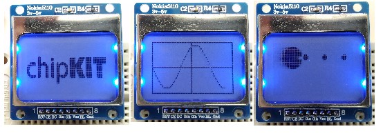 Running sine wave, chipKIT logo, and Pacman examples