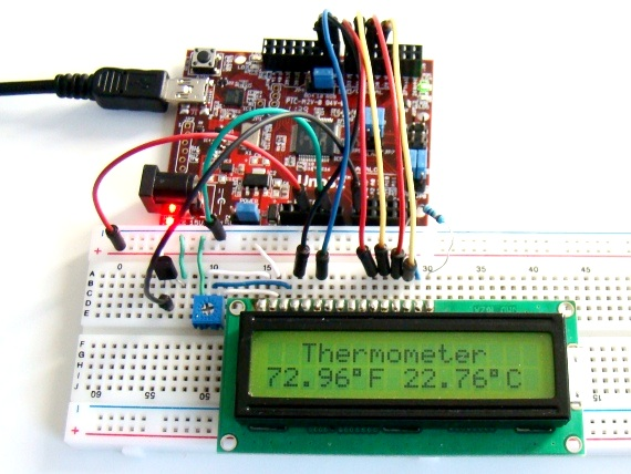Temperature measurement displayed on LCD