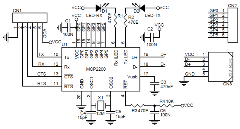 usb to uart converter with gpio  u2013 mcp220