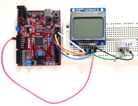 chipKIT Uno32, Nokia LCD, and DHT22 setup