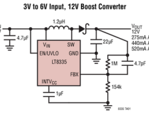 LT8335 – Low IQ Boost/SEPIC/ Inverting Converter with 2A, 28V Switch