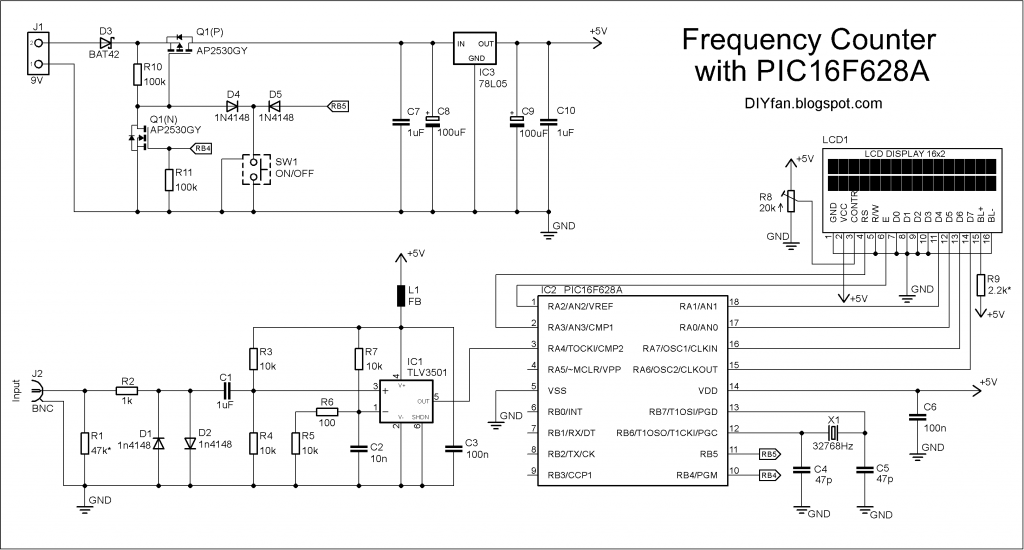Schematic 100MHz frequency counter with PIC16F628A  LCD Display