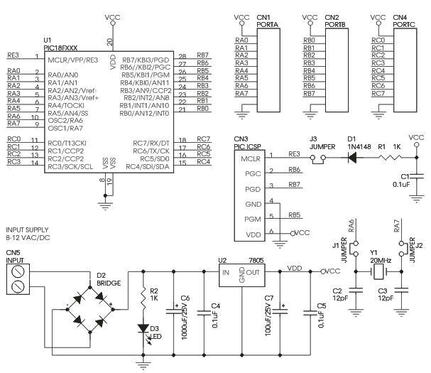Schematic PIC 18F – 28 PIN PIC Development Board