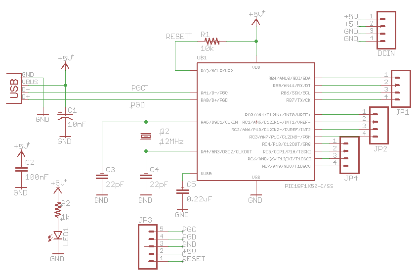 Schematic USB Low Pin Kit