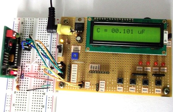 Making a digital capacitance meter using microcontroller