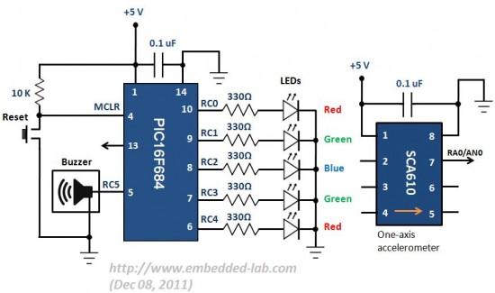 Schematic Build a digital spirit level using a SCA610 accelerometer