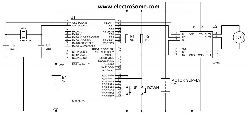 Schematic DC Motor Speed Control using PWM with PIC Microcontroller