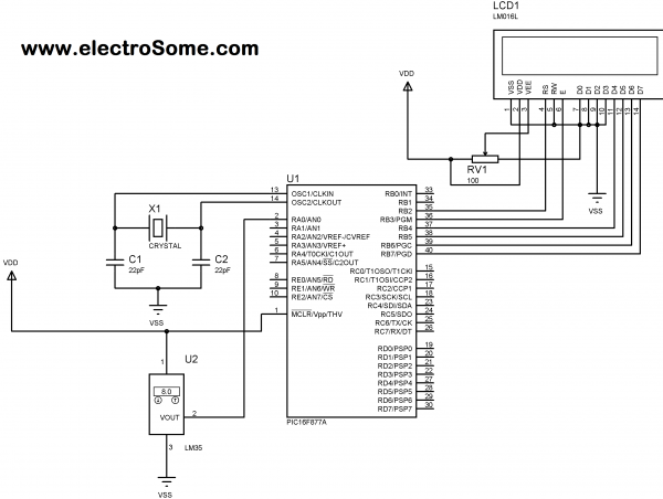 Schematic Digital Thermometer using PIC Microcontroller and LM35 Temperature Sensor
