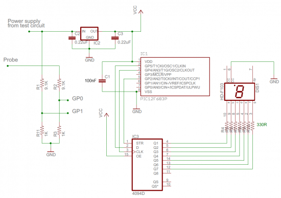 Schematic Digital logic probe for troubleshooting TTL and CMOS circuits