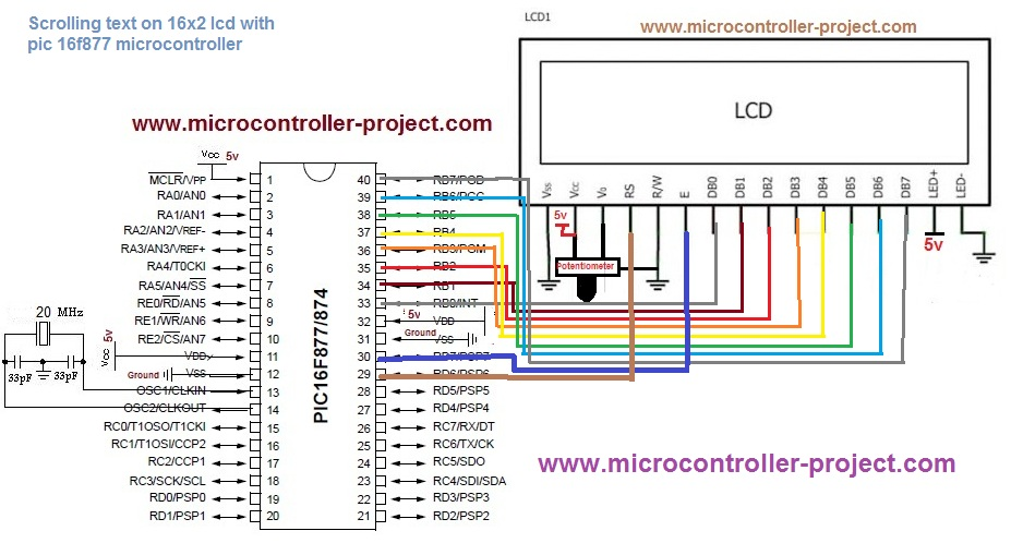 Schematic Displaying Scrolling(Moving) text on 16x2 lcd Using Pic16f877 and Pic18f452 Microcontroller