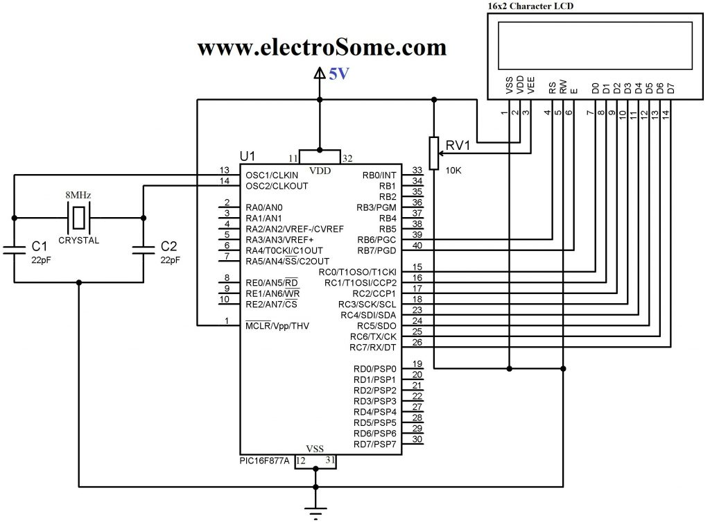 Schematic Interfacing LCD with PIC Microcontroller – Hi Tech C