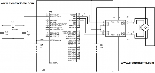 Schematic Interfacing Stepper Motor with PIC Microcontroller