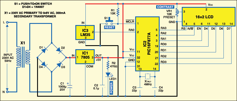 Schematic PIC16F877A-Based Temperature Monitoring System