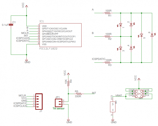 Schematic Running LED dice