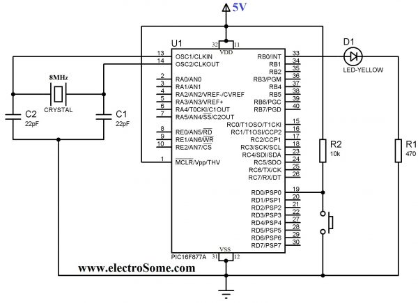 Schematic Using Push Button Switch – MPLAB XC8