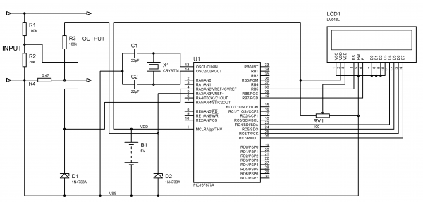 Schematic Voltmeter and Ammeter using PIC Microcontroller