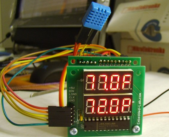 Temperature and relative humidity display with adaptive brightness control