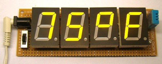 TrH Meter A DIY indoor thermometer plus hygrometer with adaptive brightness control implemented to 7-segment LED displays