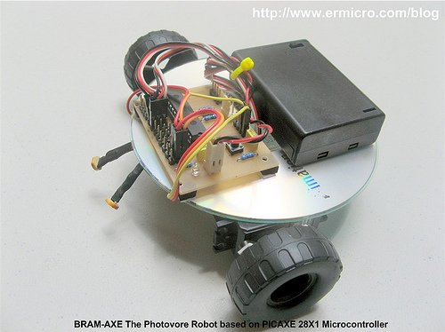 Build Your Own Simple and Easy PICAXE Microcontroller Based Photovore Robot